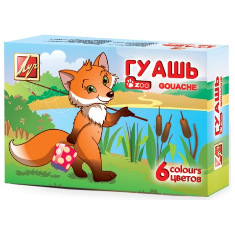 Гуашь ЛУЧ «Zoo», 6 цветов по 15 мл, без кисти, картонная упаковка, 19С 1251-08