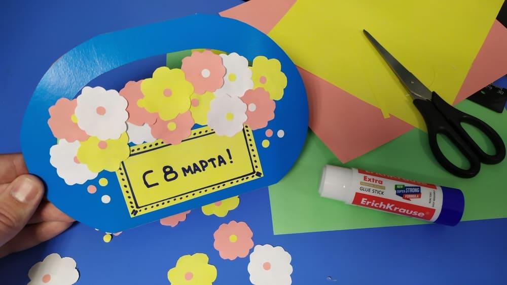 Корзинка из картона на 8 марта - фото 11