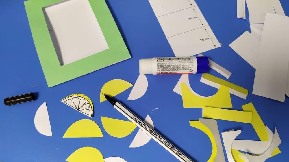 Фоторамка с лимонами из бумаги - фото 4