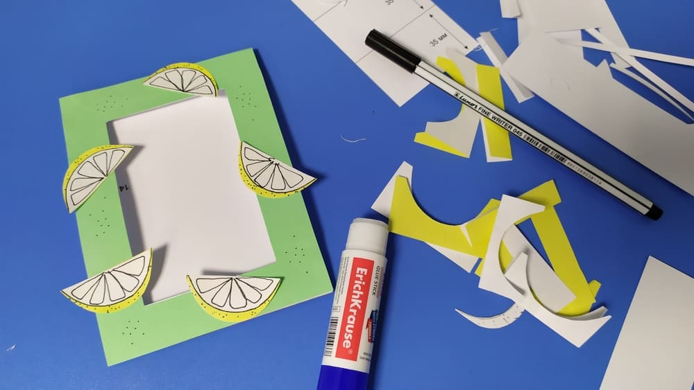 Фоторамка с лимонами из бумаги - фото 5
