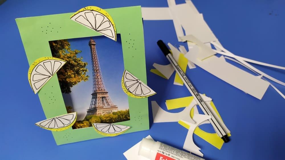 Фоторамка с лимонами из бумаги - фото 7