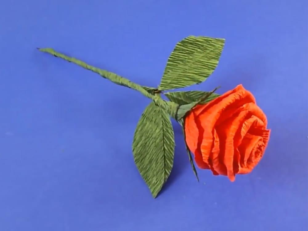 Цветы из гофрированной бумаги в виде розы
