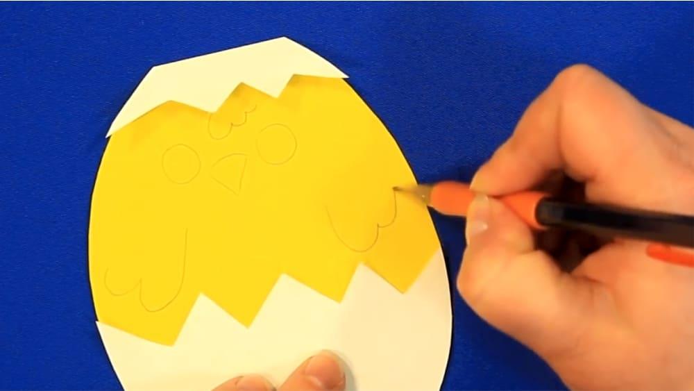 """Создание открытки из цветной бумаги """"Цыпленок"""" - фото 7"""