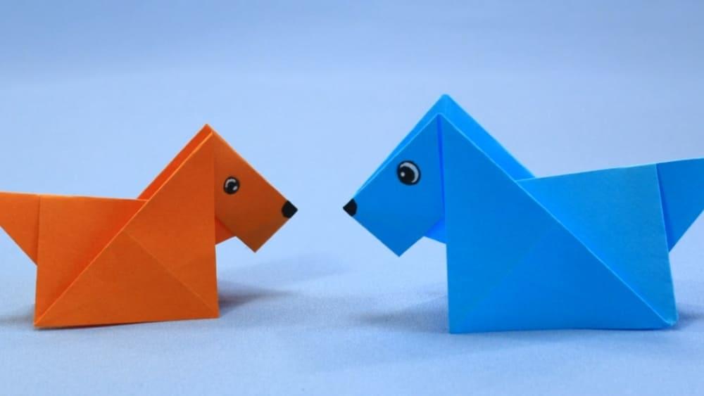 Собака-оригами из бумаги - 8