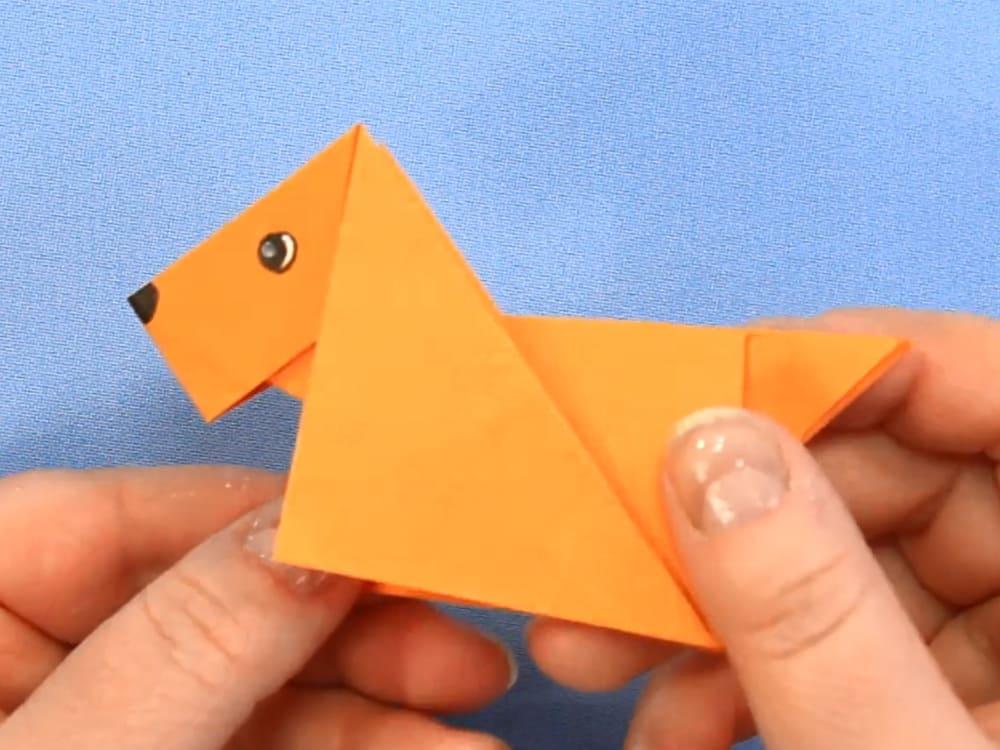 Собака-оригами из бумаги