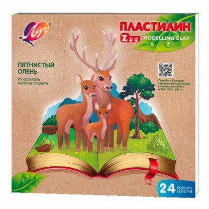 Пластилин классический ЛУЧ «Zoo», 24 цвета, 360 г, картонная коробка, 30С 1809-08