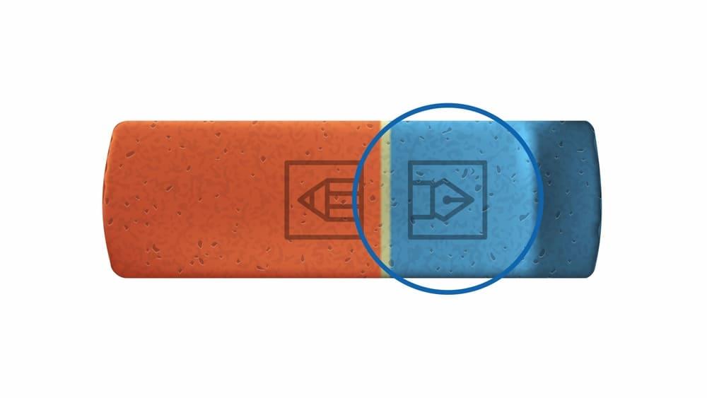 Рисунок ручки на синей части ластика